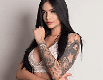 Sexy Brunette Model with Tattoo